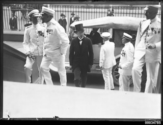 French Naval officers ascending the steps at Parliament House in Sydney