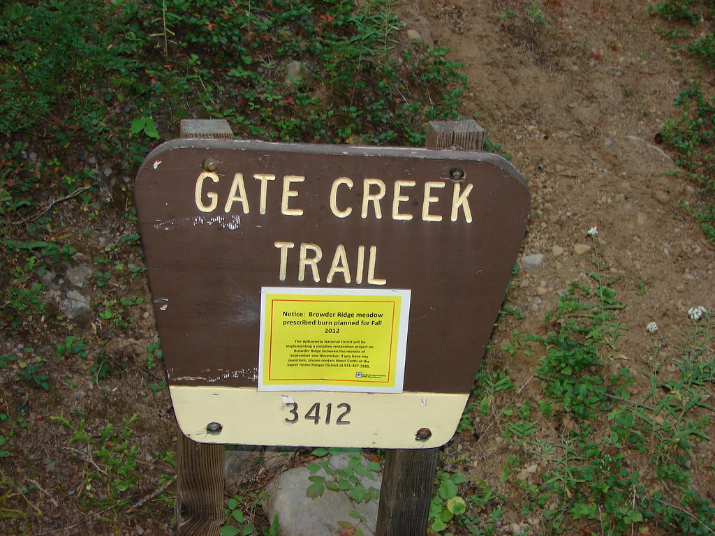 Gate Creek Trail sign at the trailhead