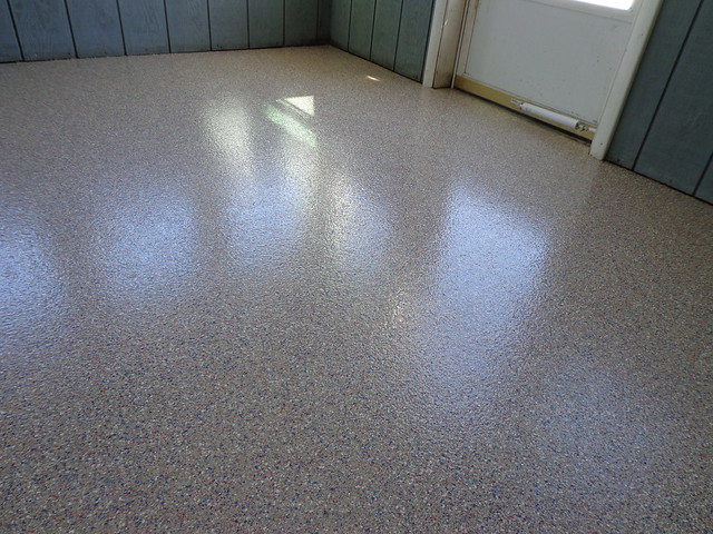 garage floor coating ideas - Epoxy Flooring Chip Broadcast North Door After