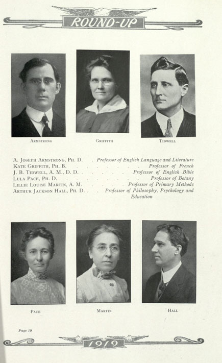 1919 Baylor University Round-Up faculty page