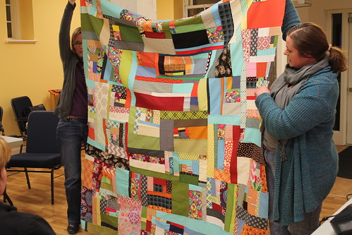 Heather shares her improv quilt that was started in her Denyse Schmidt workshop at QuiltCon