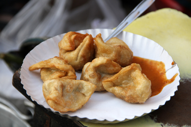 Deep fried pork momos in Kolkata, India