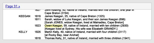 Owen Keegan index entry in Erin's Sons