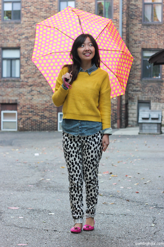 polka dot rainy day outfit