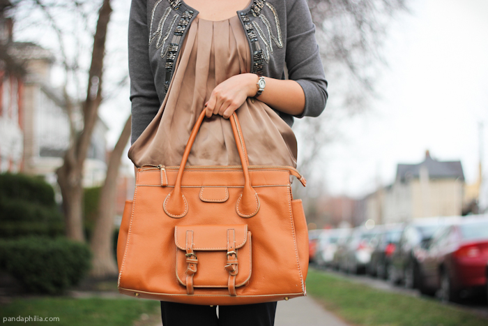 how to style camel satchel bag