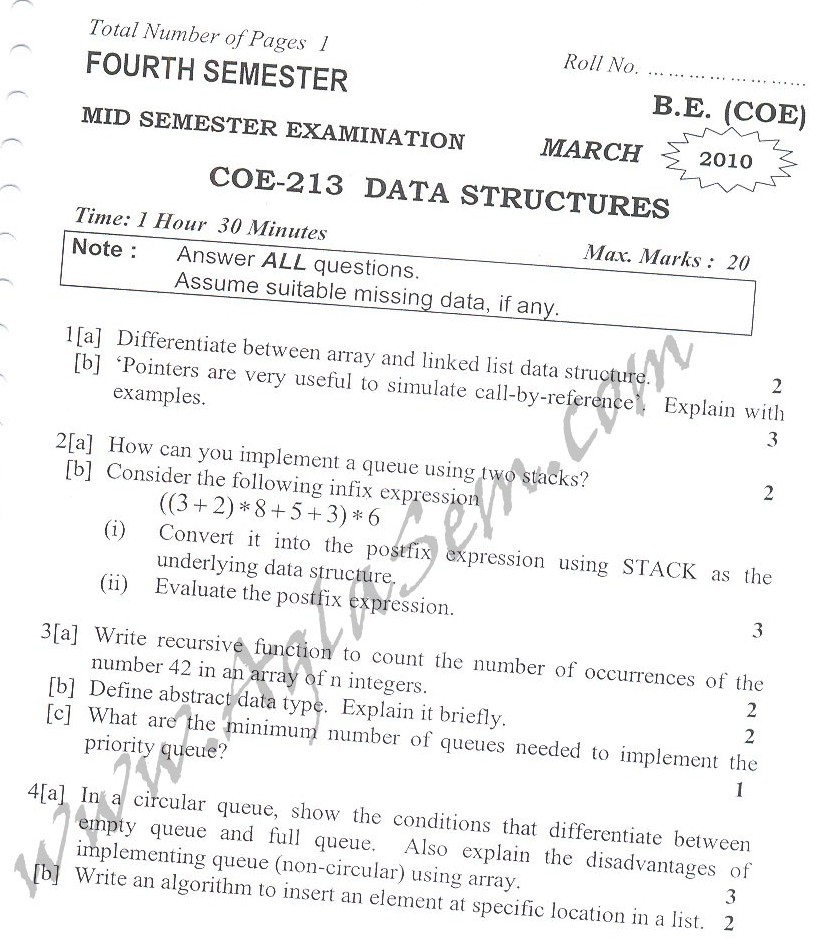 DTU Question Papers 2010 – 4 Semester - Mid Sem - COE-213