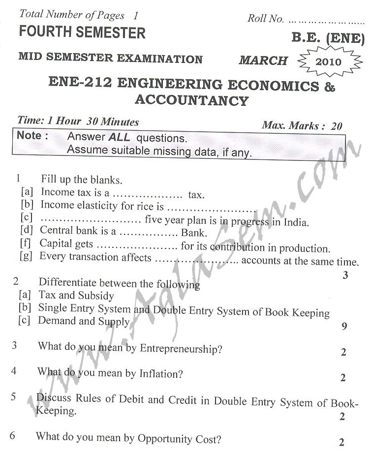 DTU Question Papers 2010 – 4 Semester - Mid Sem - ENE-212
