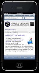 raibledesigns.com on iOS Simulator