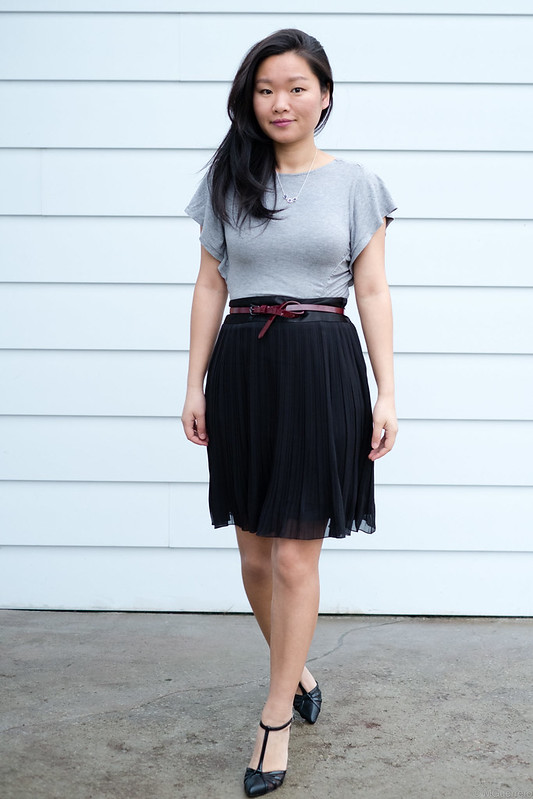 soft tshirt and pleated skirt with tstrap pumps