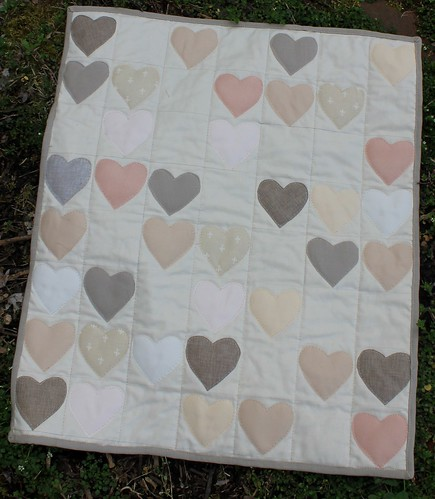 Linen Neutral Heart Quilt