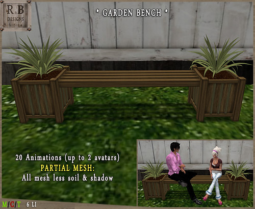 RnB Mesh Garden Bench 2-1 - 20 Anims (up to 2 avs)2