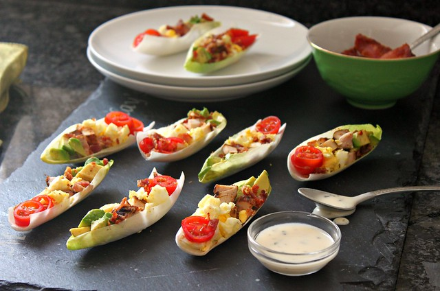 Cobb salad endive boats