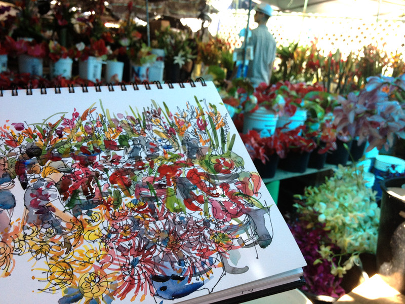 Sketching at the Flower Market, Kona