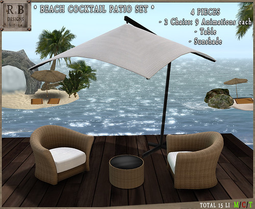 PROMO ! *RnB* Beach Cocktail Patio Set - White -