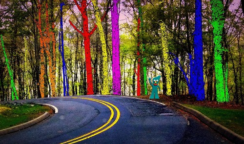 road blue trees red green nature yellow forest purple gumby