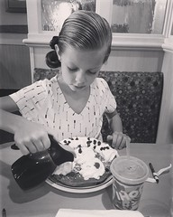 Ava's 1st #IHOP experience ever! Funny I grew up eating this crap and I'm proud to say I've never taken Ava here until now (because she was begging me)..., but with practically zero nutrition in their food and enough processed food + sugars to kill a cow