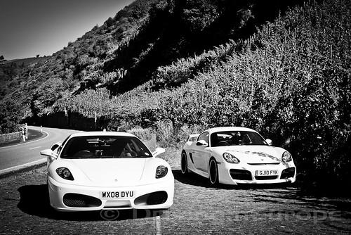 フェラーリとポルシェ、ぶどう畑の隣にて