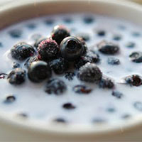 milk and blueberries