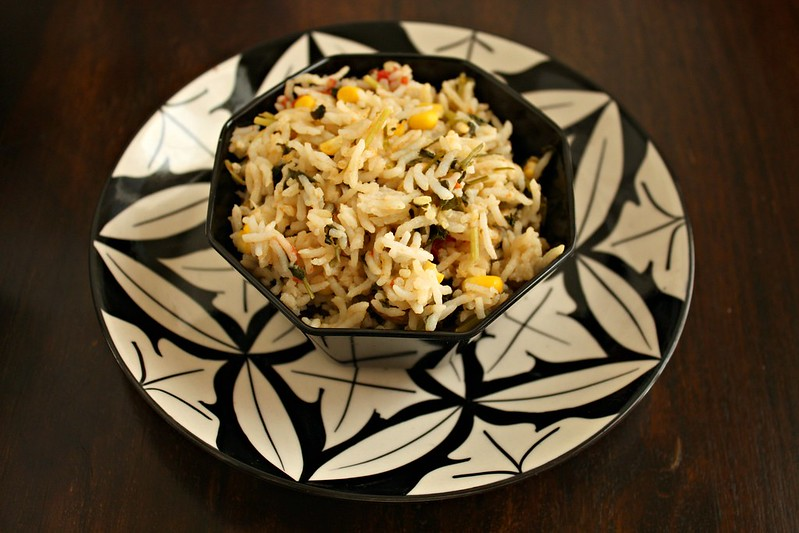 methi corn pulao