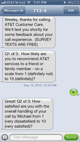 SMS Text Messaging Survey from AT&T Customer Care