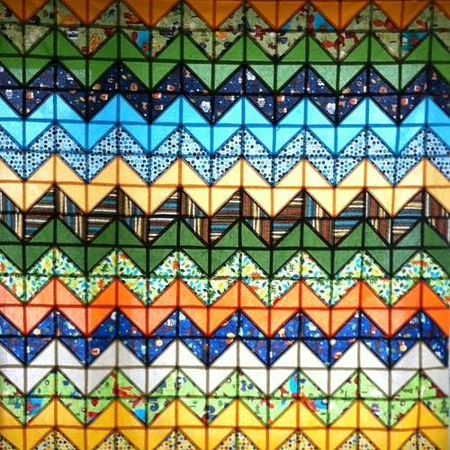 Top finished: stained glass zigzag quilt #amyschimler prints