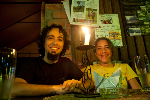 Me and my wife in the restaurant