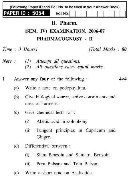 UPTU B.Pharm Question Papers PH-243 - Pharmacognosy-II