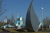 """Another view of the water drop statue at the entrance. In the background is the entrance to the Water Park."""""""