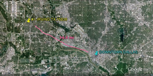 the Broadmoor Hills/Song section of Irving in relation to Dallas (via Google Earth)