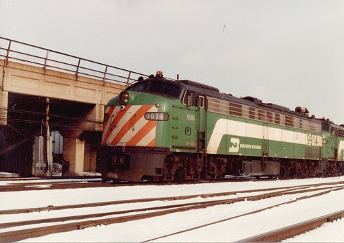 Burlington Northern EMD E 9 commuter engines being switched.  Chicago Illinois.  January 1984. by Eddie from Chicago