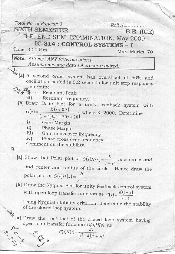 NSIT: Question Papers 2009 – 5 Semester - End Sem - IC-314
