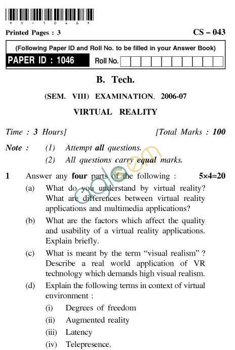 UPTU B.Tech Question Papers - CS-042-Computational Geometry