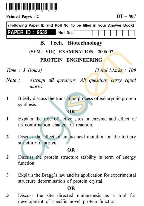 UPTU B.Tech Question Papers - BT-807 - Protein Engineering