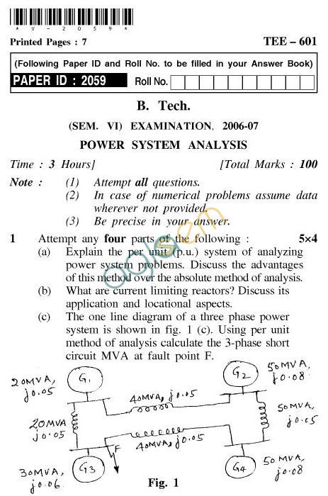 UPTU BTech Question Papers TEE 601 Power System
