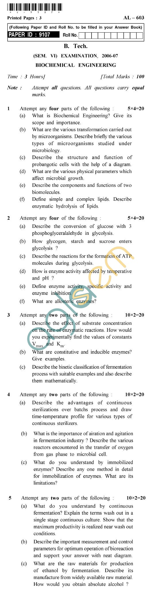 UPTU B.Tech Question Papers - AL-603 - Biochemical Engineering