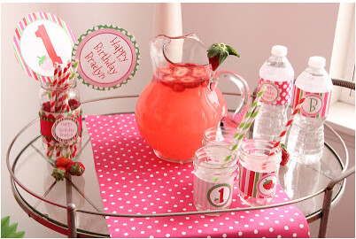 Strawberry Lemonade drinks for Strawberry Party by Wonderfully Made Events