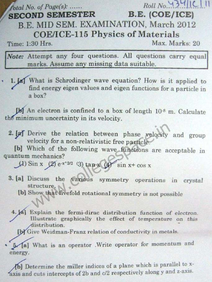 NSIT Question Papers 2012 – 2 Semester - Mid Sem - COE-ICE-115