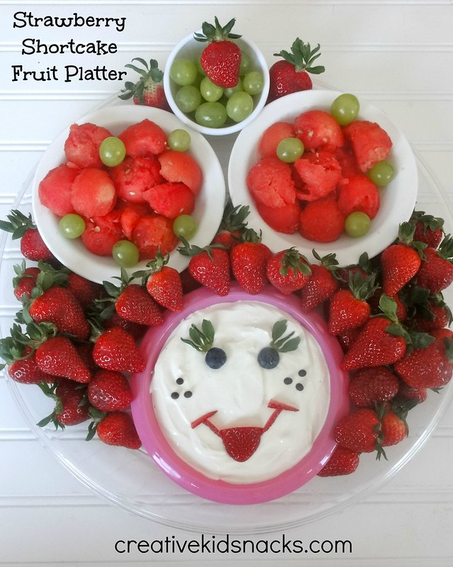 Strawberry Shortcake Party Fruit Platter from creativekidsnacks.com