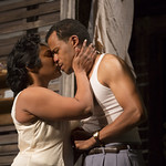 Ashley Everage ('Ruth Younger') and LeRoy McClain ('Walter Lee Younger') in the Huntington Theatre Company's production of Lorraine Hansberry's A RAISIN IN THE SUN. Mar. 8 - Apr. 7, 2013 at Avenue of the Arts / BU Theatre. huntingtontheatre.org. photo: T. Charles Erickson