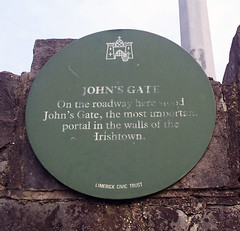Photo of John's Gate green plaque