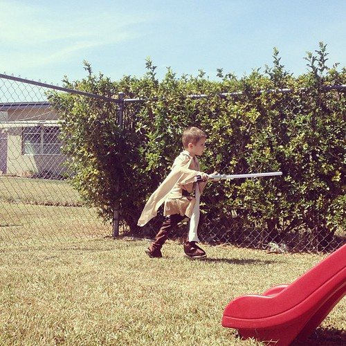 This is happening! #jedi #geek #lightsaber #starwars #backyard #kids #skywalker #theforce
