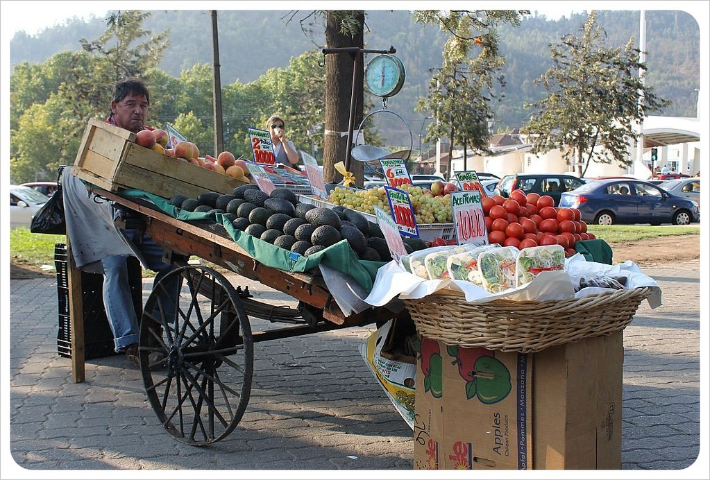 fruit and vegetable cart in santiago de chile