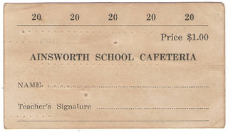 Ainsworth school cafeteria meal ticket