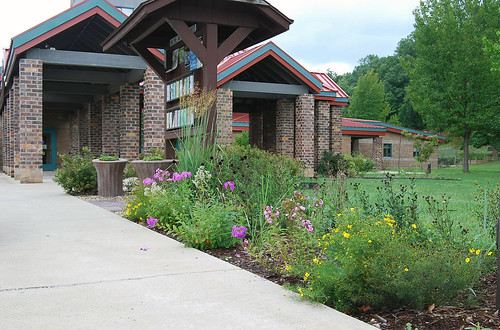 The front entrance garden on the Wayne National Forest includes Indian grass, St. John's wort, woodland stonecrop, coreopsis, and other native plants. (U.S. Forest Service photo)