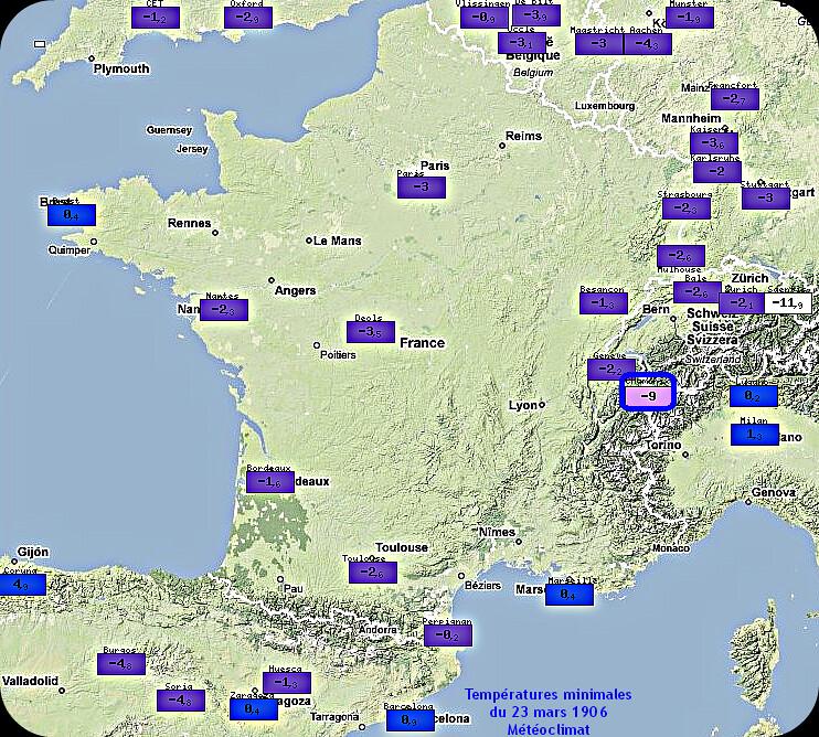 températures minimales et gelées généralisées du 23 mars 1906 météopassion