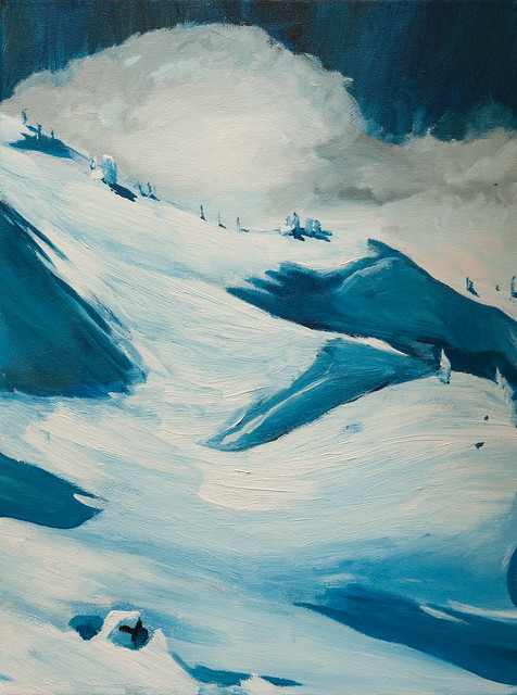 Painting of Cake Hole, Whistler Mountain.