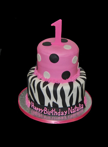 1st birthday pink and black zebra print birthday cake