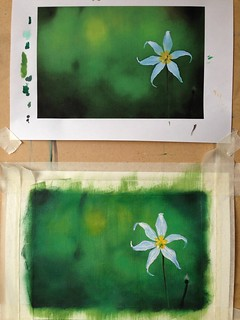 White Star Flower painting
