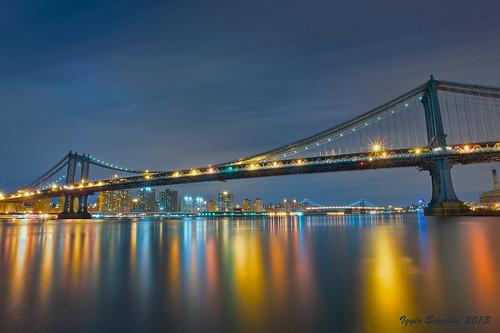 city nyc nightphotography bridge newyork colors brooklyn night reflections cityscape suspension manhattan citylights manhattanbridge