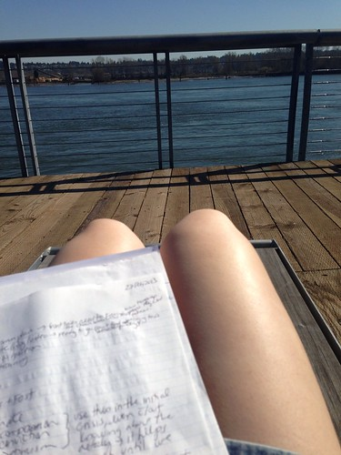 Studying on the pier
